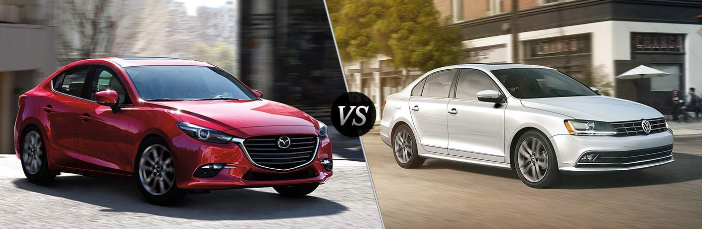 2018 mazda3 4-door sedan side-by-side with white volkswagen jetta sedan