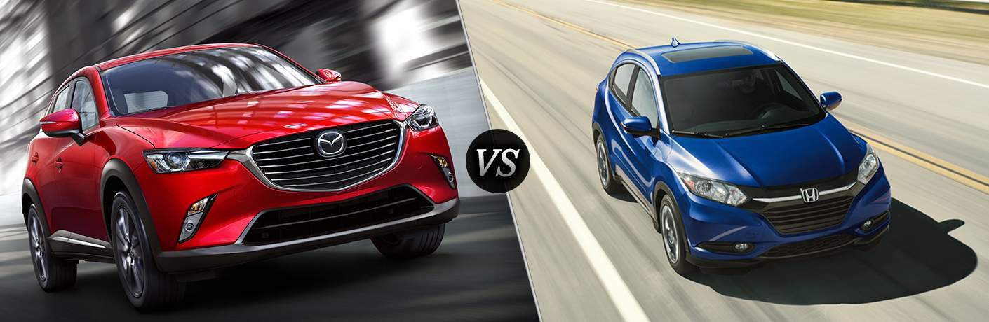 Red 2018 Mazda CX-3, VS Icon, and Blue 2018 Honda HR-V