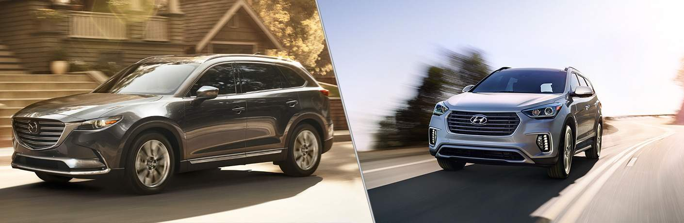 2018 mazda cx-9 and 2018 hyundai santa fe driving side by side