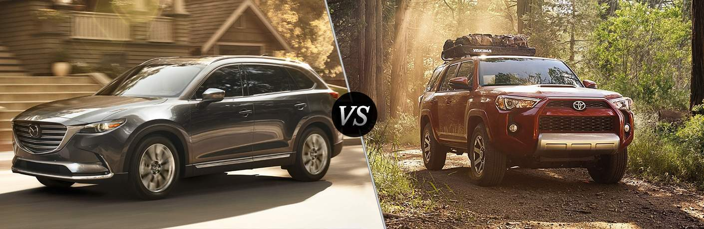 2018 mazda cx-9 and 2018 toyota 4runner side by side