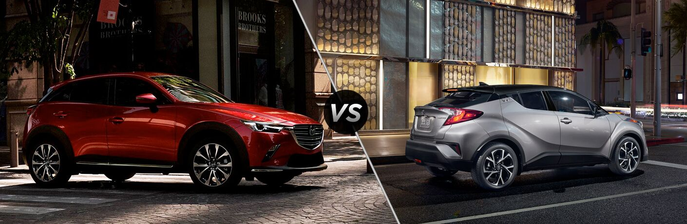 2019 mazda cx-3 and 2019 toyota c-hr side by side