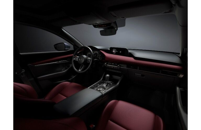2019 Mazda3 interior shot of exclusive burgundy upholstery and accents