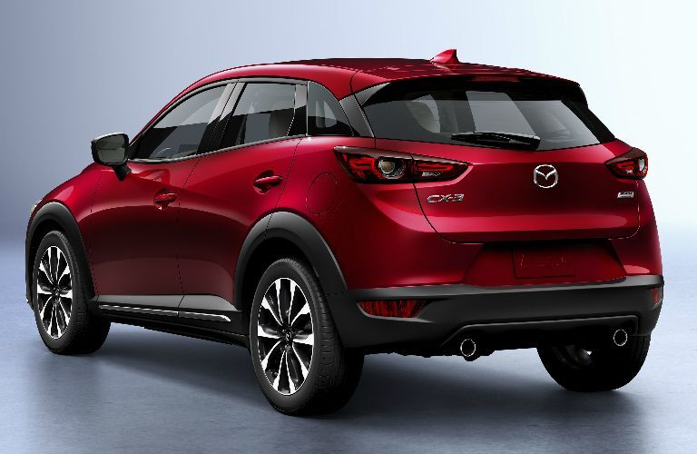2019 Mazda CX-3 exterior red rear shot of back bumper, trunk and taillights