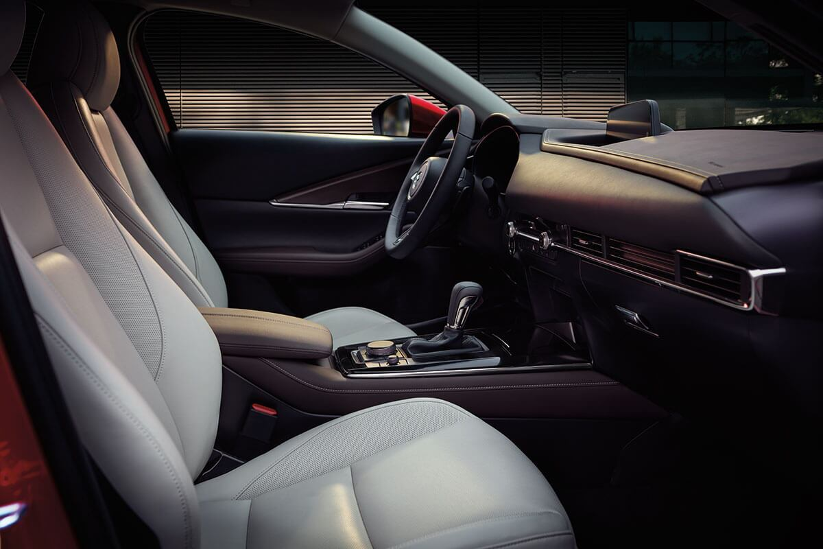 Looking across the front seats of the Mazda CX-30 in Lodi, NJ