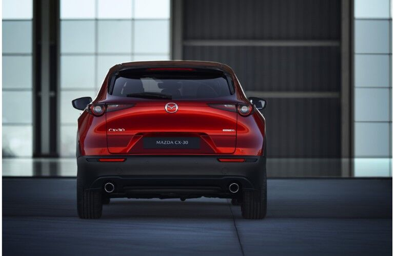 2020 Mazda CX-30 compact crossover SUV exterior rear shot of bumper, trunk, and CX-30 badge