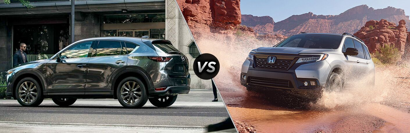 dark gray mazda cx-5 compared to silver honda passport
