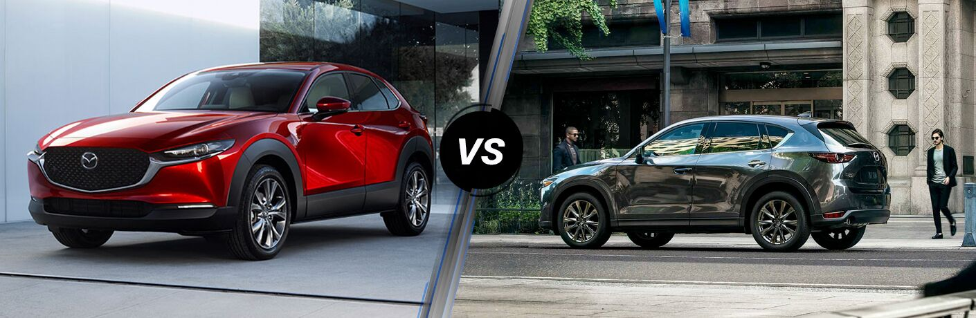 red mazda cx-30 compared to gray mazda cx-5