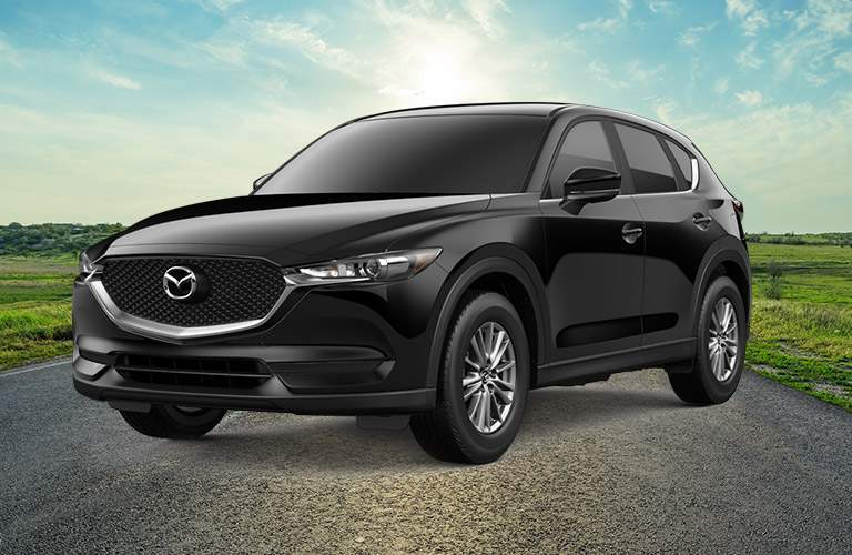 black mazda cx-5 parked on road