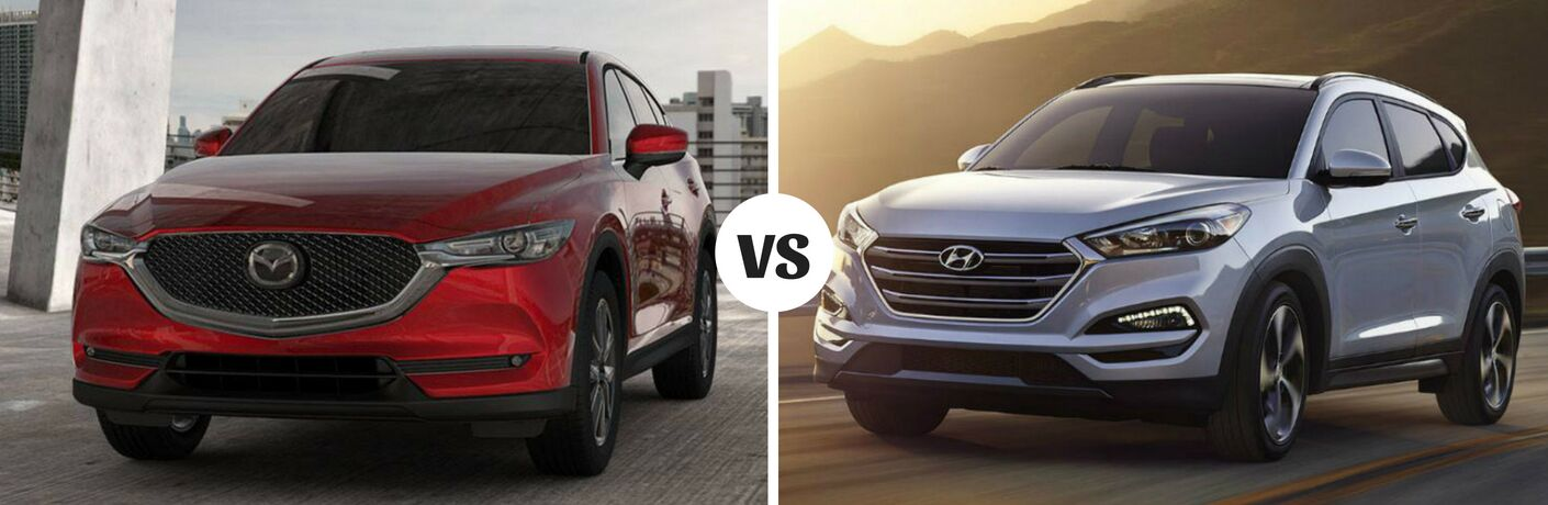 Comparison image of a red 2018 Mazda CX-5 and a silver 2018 Hyundai Tuscon