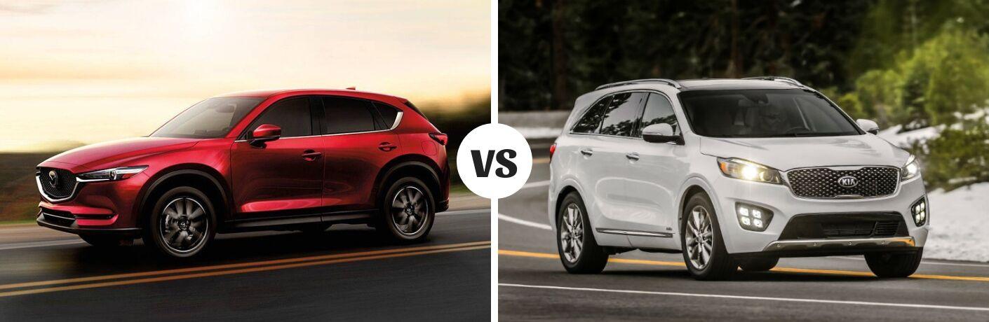 Comparison image of a red 2018 Mazda CX-5 and a white Kia Sorento