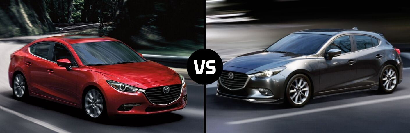 Comparison image of a red 2018 Mazda3 4-Door and a silver 2018 Mazda3 5-Door