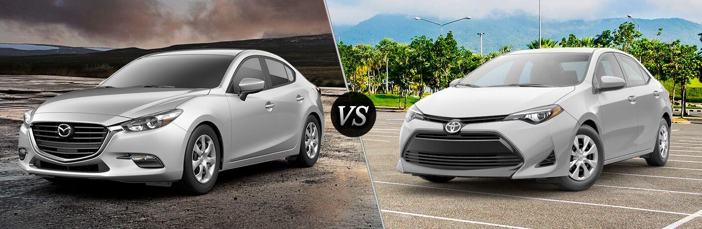 Comparison image of a silver 2018 Mazda3 Sport and a 2018 Toyota Corolla L