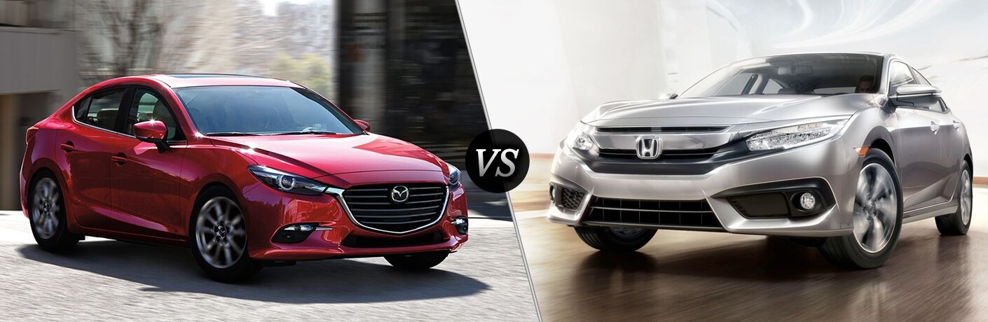Comparison image of a red 2018 Mazda3 sedan and a silver 2018 Honda Civic sedan