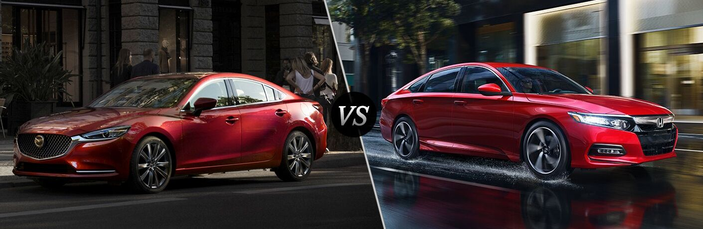Comparison image of a red 2018 Mazda6 and a red 2018 Honda Accord