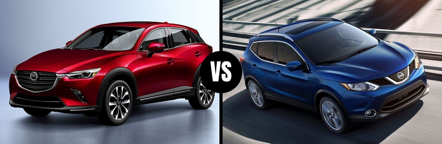 Comparison image of a red 2019 Mazda CX-3 and a blue 2019 Nissan Rogue Sport