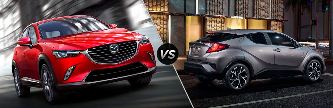 Comparison image of a red 2019 Mazda CX-3 and a silver 2019 Toyota C-HR