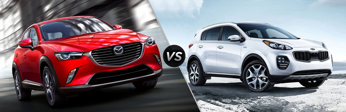 Comparison image of a red 2019 Mazda CX-3 and a white 2019 Kia Sportage