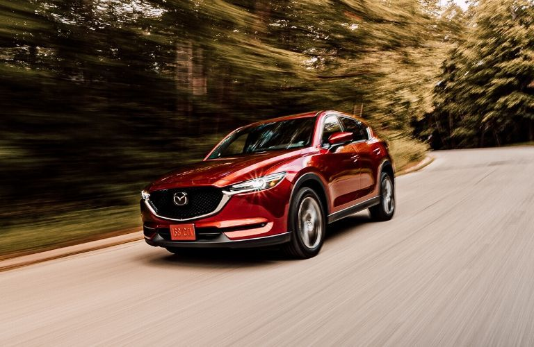 Exterior view of the front of a red 2019 Mazda CX-5