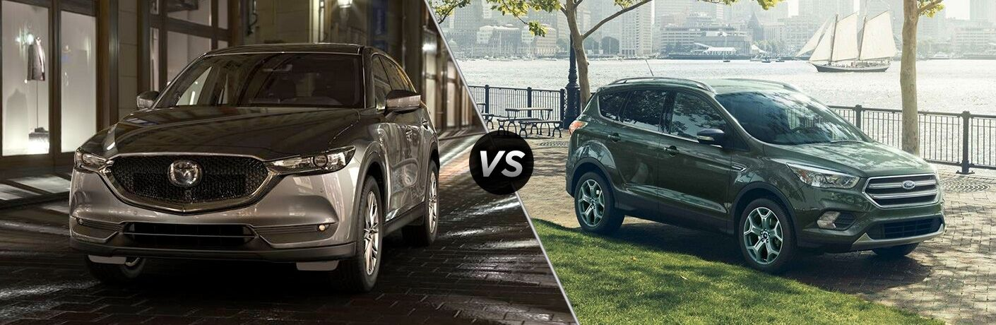 Comparison image of a grey 2019 Mazda CX-5 vs a green 2019 Ford Escape