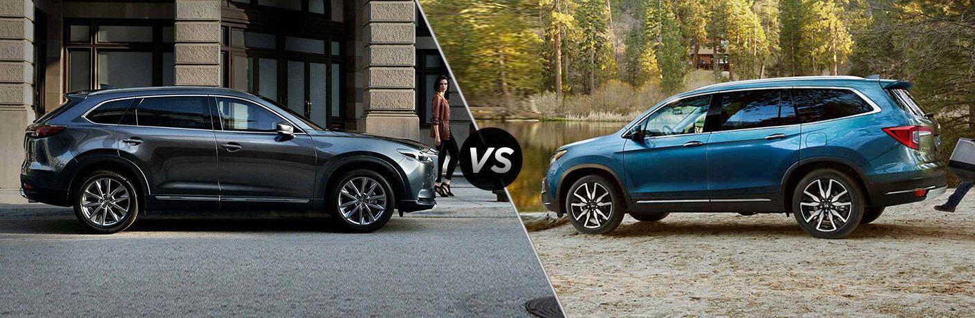 Comparison image of a gray 2019 Mazda CX-9 and a blue 2019 Honda Pilot