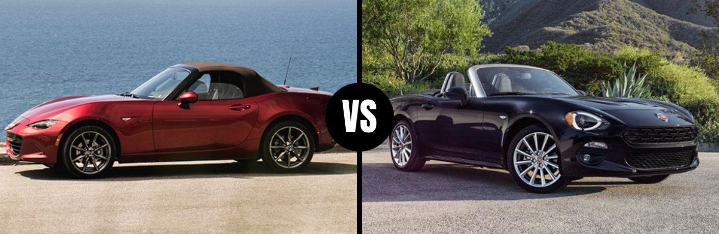 Comparison image of a red 2019 Mazda MX-5 Miata and a black 2019 FIAT 124 Spider