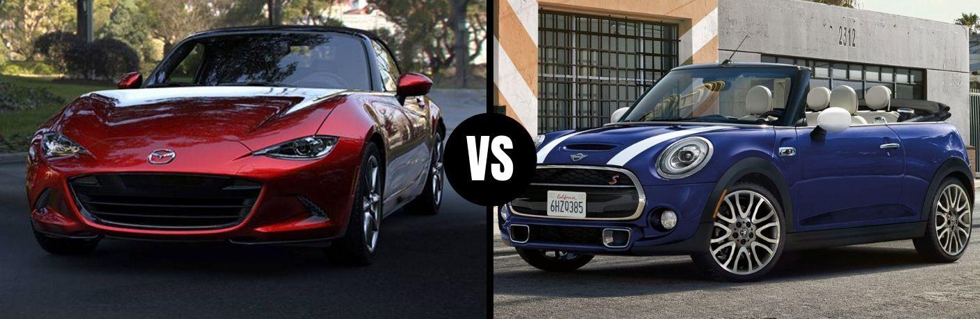 Comparison image of a red 2019 Mazda MX-5 Miata and a blue 2019 MINI Convertible