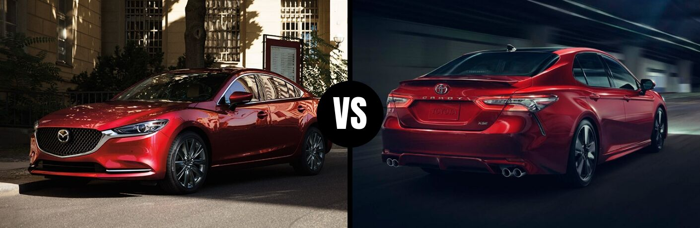 Comparison image of a red 2019 Mazda6 and a red 2019 Toyota Camry