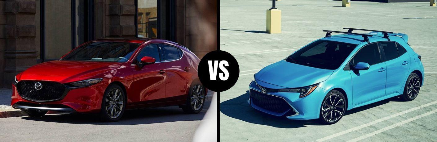 Comparison image of a red 2019 Mazda3 Hatchback and a light-blue 2019 Toyota Corolla Hatchback