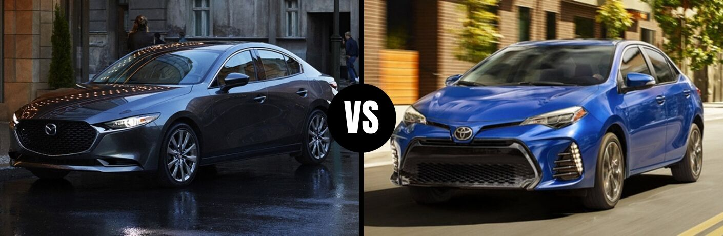 Comparison image of a gray 2019 Mazda3 Sedan and a blue 2019 Toyota Corolla Sedan