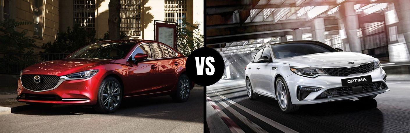 Comparison image of a red 2019 Mazda6 and a white 2019 Kia Optima
