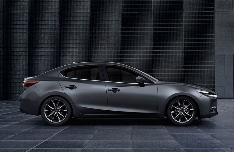 right side view of dark gray mazda3