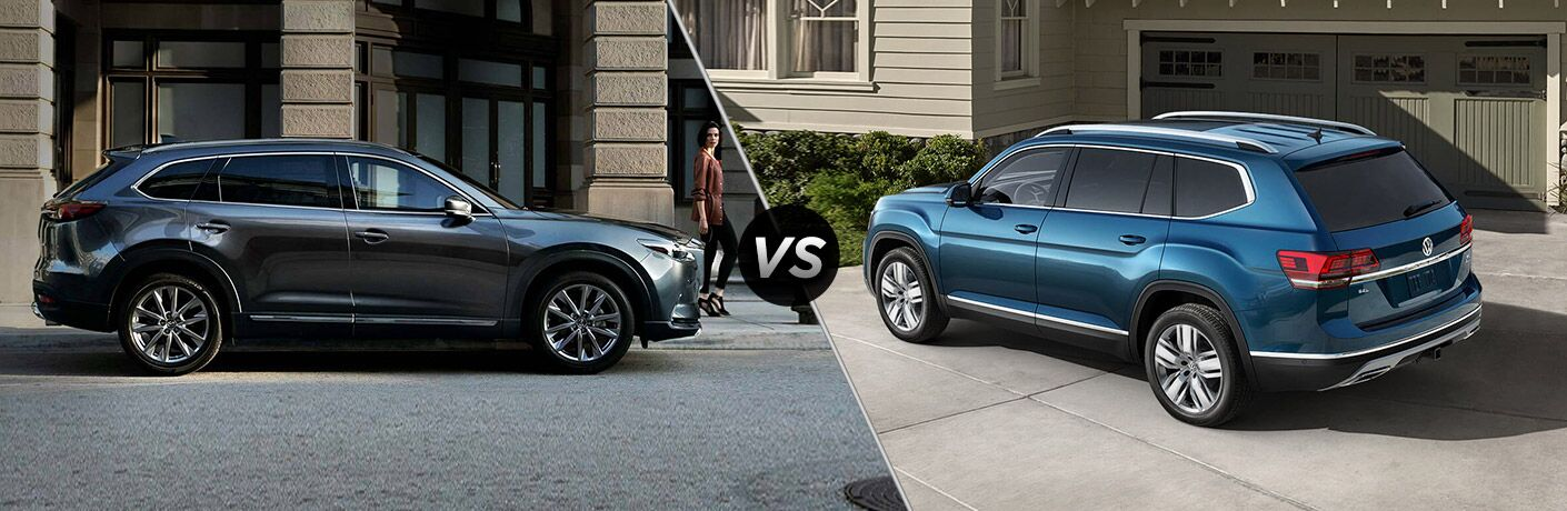 dark gray mazda cx-9 compared to blue volkswagen atlas