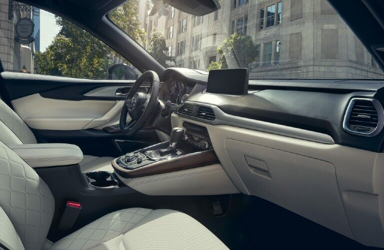 The front interior inside the 2021 Mazda CX-9.