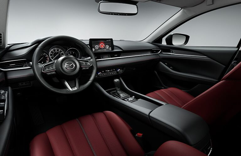 The front interior inside a 2021 Mazda6.