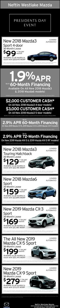 February '19 President's Day Sale Ad-Mazda
