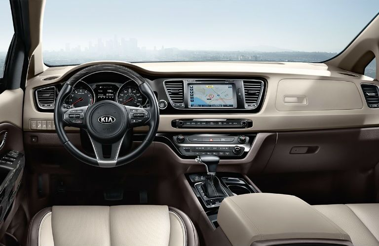 2018 Kia Sedona steering wheel and dash.