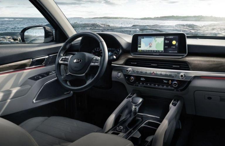 2021 Kia Telluride interior dash and wheel