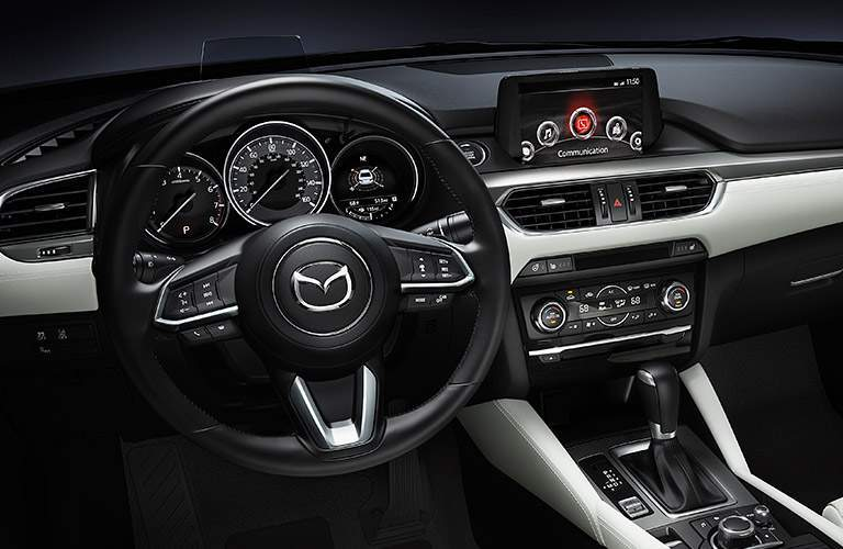 interior of 2017 mazda mazda6 showing steering wheel and dashboard