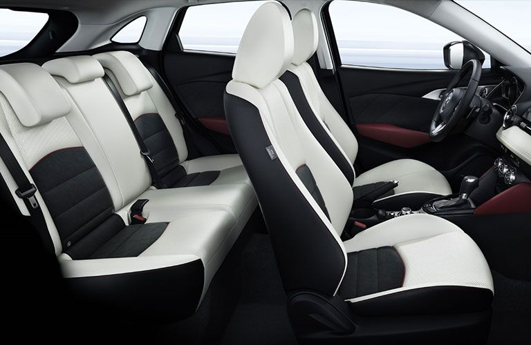 side view of front and rear interior seats of 2018 mazda cx-3