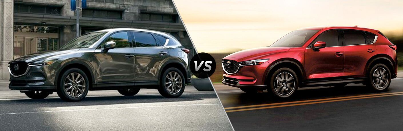 Gray 2019 Mazda CX-5 on a City Street vs Red 2019 Mazda CX-5 on a Highway