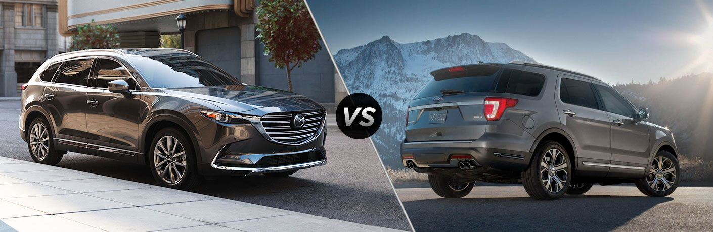 2019 Mazda CX-9 next to a 2019 Ford Explorer