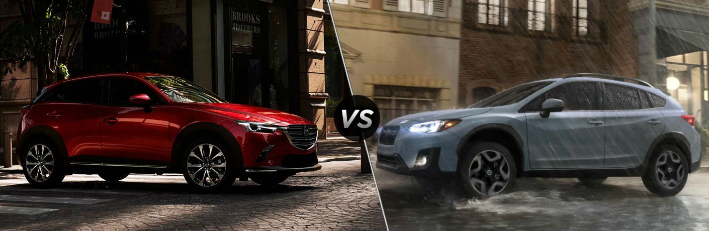 2019 Mazda CX-3 Exterior Passenger Side Front Profile vs 2019 Subaru Crosstreak Exterior Driver Side Front Profile