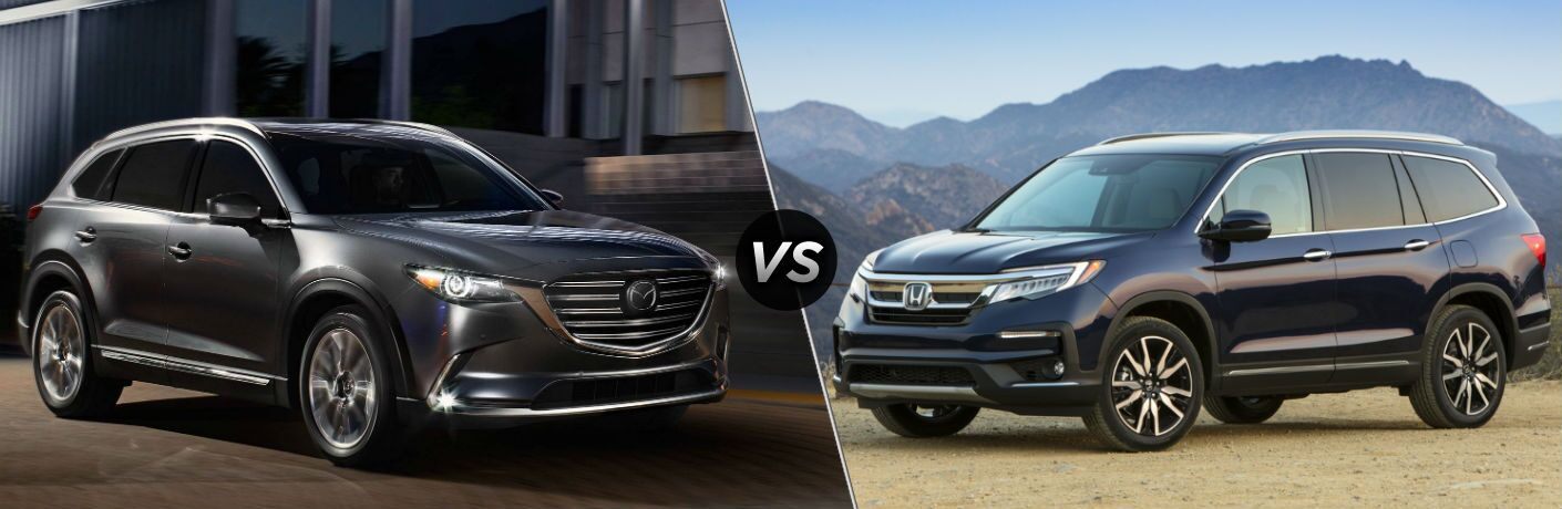 2019 Mazda CX-9 Exterior Passenger Side Front Angle vs 2019 Honda Pilot Exterior Driver Side Front Profile