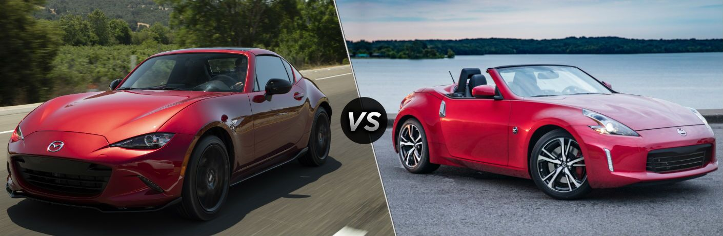 2019 Mazda MX-5 Miata Exterior Driver Side Front Angle vs 2019 Nissan 370Z Roadster Exterior Passenger Side Front Angle