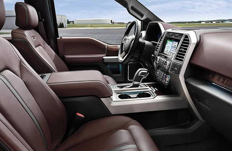 front seats and steering wheel of the 2018 Ford F-150