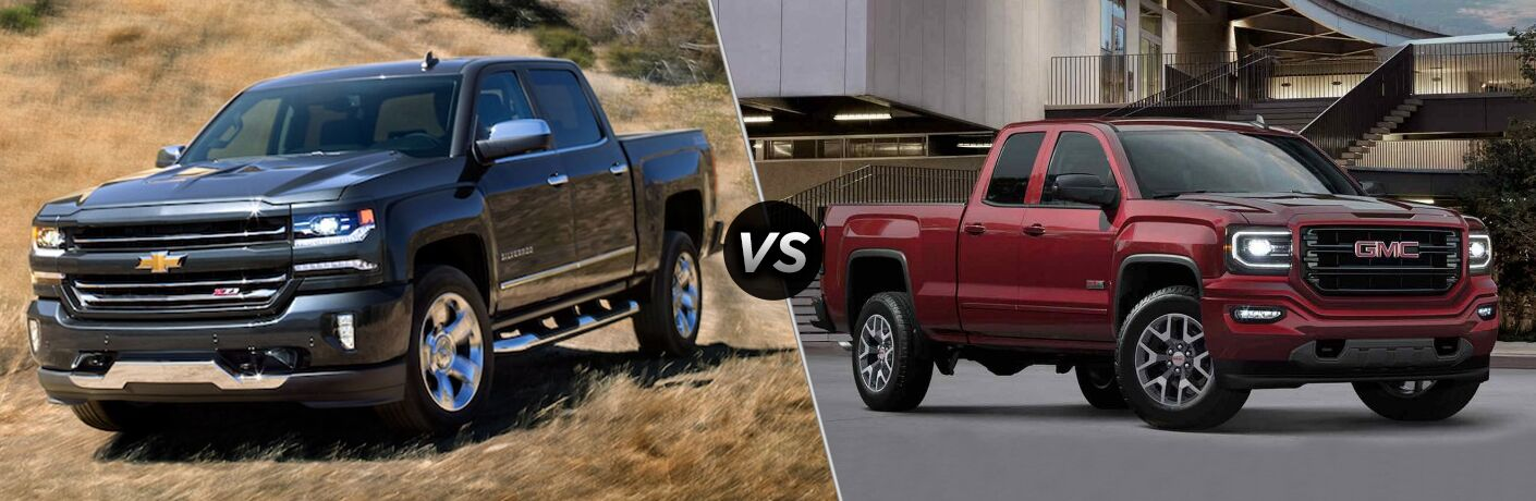 a comparison image of the 2018 Chevy Silverado 1500 and 2018 GMC Sierra 1500