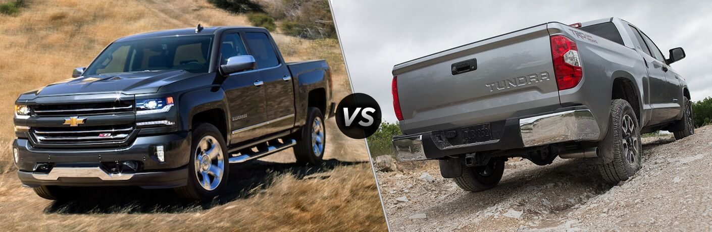 side by side images of the 2018 Chevy Silverado and 2018 Toyota Tundra