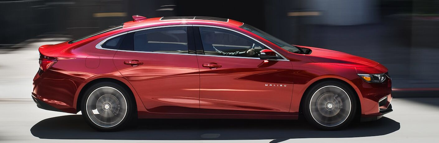 side view of a red 2018 Chevrolet Malibu