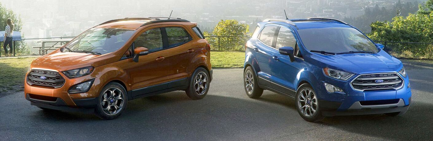2018 Ford EcoSport in blue and metallic orange
