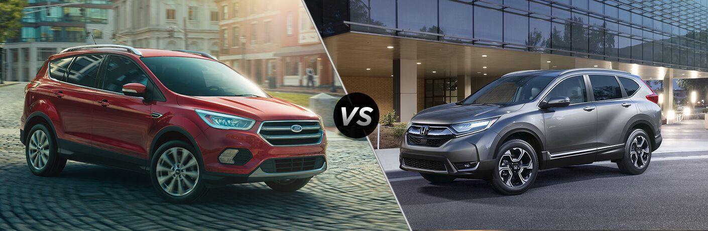 red 2018 Ford Escape and a silver 2018 Honda CR-V in a comparison image